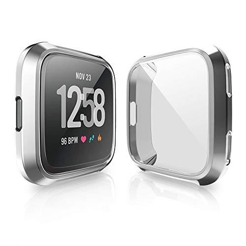 Vamoro Für Fitbit Versa Screen Protector Case Schutzhülle für 360 Gel-Stoßfänger Displayschutz, Weiche Ultradünne TPU Schutzhülle Rundherum Schutz Schlankes...
