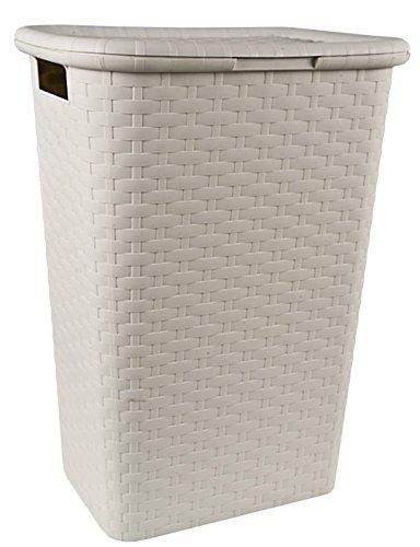 Wäschebox in Flechtoptik 65 Liter - creme - Wäschetruhe Wäschekorb