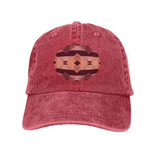 Xunulyn Adjustable Hat Baseball Flat Bottom Cap Seamless Background Pattern Print Web Repeating Cloth Design red