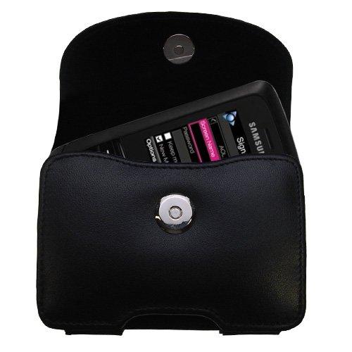 Gürtel Ledertasche Schwarz mit abnehmbaren Clip und Gürtelschlaufe für den Samsung SGH-T729