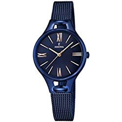 Festina MADEMOISELLE Women's Quartz Watch with Blue Dial Analogue Display and Blue Stainless Steel Plated Bracelet F16953/2