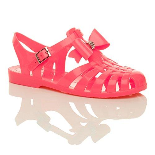 Donna tacco basso piano gomma 90s retrò fiocco romano sandali gladiatore taglia Corallo
