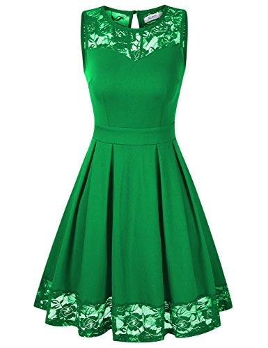 KOJOOIN Damen Elegant Kleider Spitzenkleid Ohne Arm Cocktailkleid Knielang Rockabilly Kleid Grün M