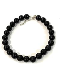 Caprilite - Gargantilla Grande de Perlas de imitación Gigantes de 18 mm, Estilo Vintage, Color Negro