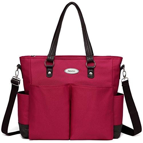 PREMYO Große Wickeltasche XXL mit Wickelunterlage und Kinderwagenbefestigung in Rot. Elegante Wickeltasche mit Thermofach für unterwegs. Moderne Wickeltasche mit Reißverschluss und vielen Fächern