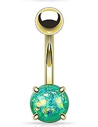 ca4a754888 Gekko cuerpo joyas Verde Opal purpurina Prong Set chapado en oro más de  anillos de ombligo de acero quirúrgico…