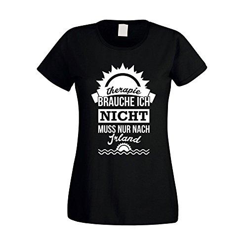 Damen T-Shirt - Therapie brauch Ich nicht - muss nur nach Irland - von SHIRT DEPARTMENT fuchsia-weiss