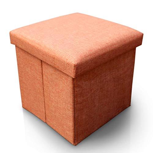 DWW Klapp Toy Box Chest mit Memory Foam Sitz Flip Top Speicher Ottomane Bank Fußhocker Rest Step Hocker Abnehmbare gepolsterte Pad Stoff Hocker (Farbe : Orange) -