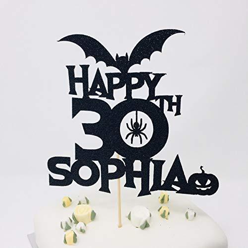 Ethelt5IV Personifizierter Name und Alter Halloween-Geburtstags-Kuchen-Deckel 20. 30. 40. 50. 60. 70. 80. usw. Gl¨¹ckliche Halloween-Thema-Geburtstagsfeier (60 Kuchen-deckel Gold)