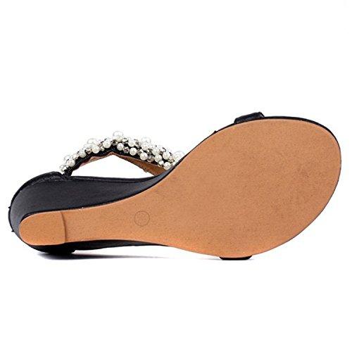 Oasap Women's Wedge Heels Pearls Wedge Heels Thong Sandals Golden