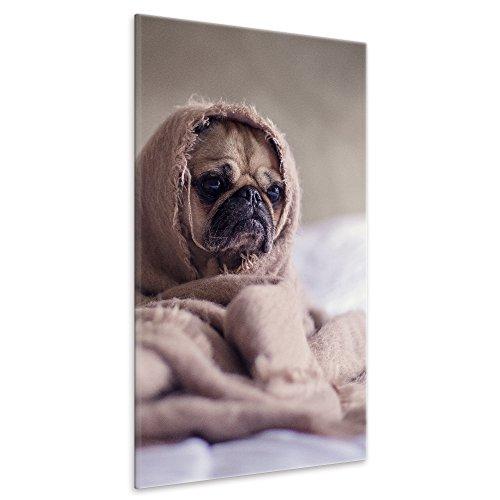 ld Mops Wanddekoration Hund Tier Fotoleinwand handgefertigt Kunstdruck Foto Leinwand Tierwelt Bild 60 x 90 cm ()