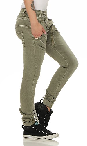 Fashion4Young - Jeans - Taille empire - Femme bleu Schwarz XS=36 Vert olive