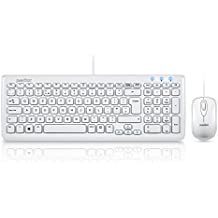 PERIDUO-303W ES, Pack de teclado y ratón con cable - conector USB - color piano blanco - 7 teclas de multimedia - 390x141x25mm - QWERTY Español