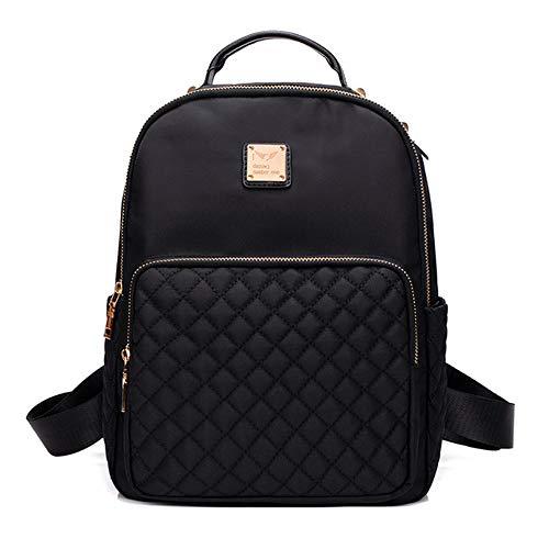 y Style Nylon Damen Schultertasche Studententasche Schwarz Rucksack Schwarz Large 20 * 14 * 28cm ()