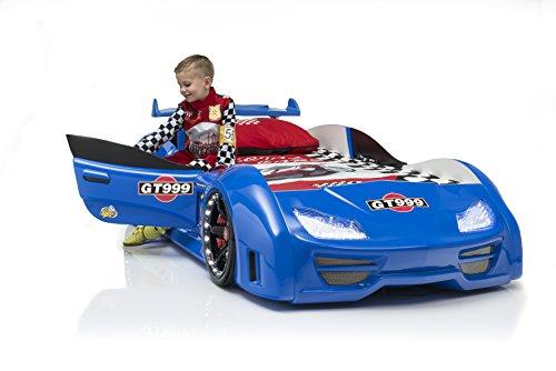 Das Beste und schönste Autobett Kinderbett GT 999 in blau komplette Ausstattung mit Türen Geräuschen LED Spoiler Lattenrost von Möbel-Zeit