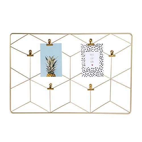 Dresz Metall Wandgitter, Hängender Fotorahmen, Wanddekoration Organizer, Gitter Panel, Einschließlich 2 Trendy Karten und 6 Clips, Gold, 37 x 55 cm - Einschließlich Metall