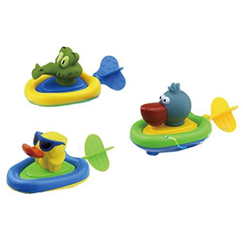 Egosy Spielzeug Geschenk Gelegentliche Anlieferung 3 Stücke Tierboot-Bad-Zug-Linie Frühlings-Spiel-Wasserspielzeug - A-linie Frühling