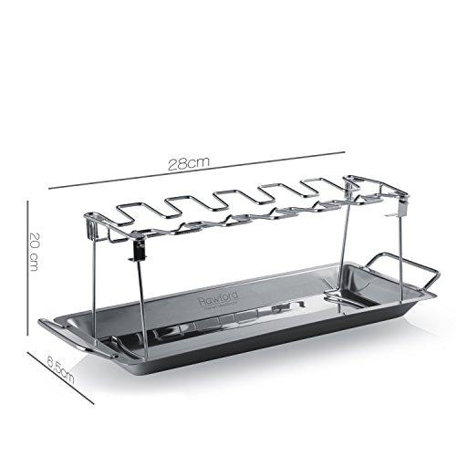 41cXE8weGIL - Rawford Hähnchenschenkel-Halter mit Platz für 12 Keulen - Für perfekt gegrillte Chicken Wings - Zusammenlegbarer Hähnchen Grill Ständer aus Edelstahl