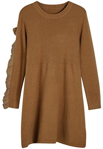 Vogueearth Damen's Lang Hülse Crew Hals Knit Laciness Sweater Sweatshirt Kleid Pullover Bräunen (Knit Tan Sweater)