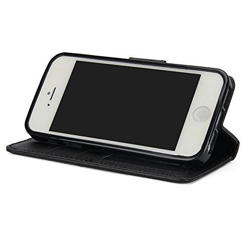EKINHUI Case Cover Classic Premiu PU Ledertasche, Horizontale Flip Stand Case Cover mit Cash & Card Slots & Lanyard & Soft TPU Interio Rückseite für iPhone 5 & 5s & SE ( Color : Rosegold ) Black