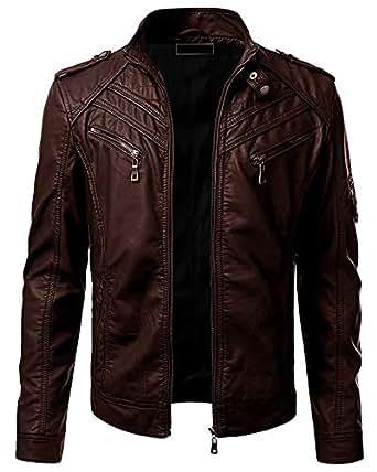 Blaq Ash Men's Faux Leather Biker Outerwear Jacket (Brown, XS)