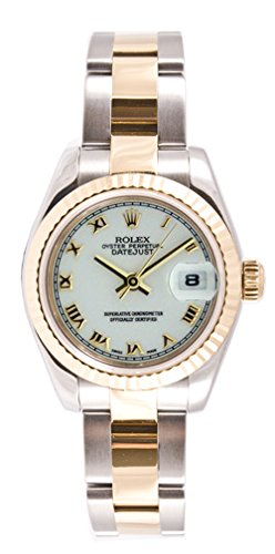 Rolex Ladys New Style Heavy Band Stainless Steel & 18K Gold Datejust Model 179173 Oyster Band Fluted Bezel White Roman Dial