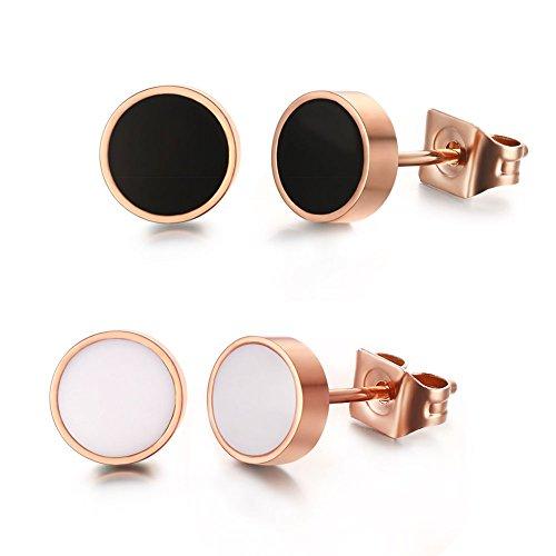Vnox Edelstahl 18K Rose Gold überzogene kleine runde Bolzen Ohrringe Rose Gold für Frauen Mädchen,Packung von 2