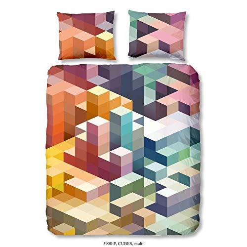 Good Morning Parure de Couette Cubes 100% Coton - 1 Housse de Couette 200x200 cm et 2 taies d'oreiller 60x70 cm - Noir