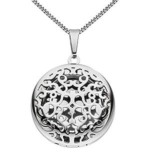 HausderHerzen Medaillon Ornament Verzierung rund Hochglanz aus Edelstahl für 1 Foto/Bild mit Etui