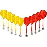NUOLUX 10ST sicher Ersatz magnetische Dart Kunststoff Flügel deiner Spiel Spielzeug (rot + gelb)