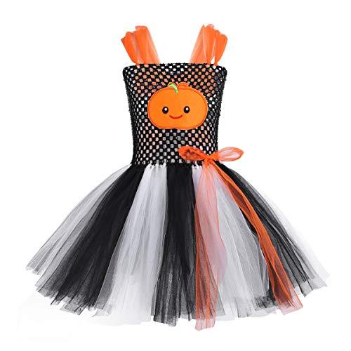 Freebily Kinder Mädchen Halloween Kostüm mit Kürbis Muster Karneval Fasching Kostüm Tutu-Kleid Party Cosplay Bekleidung in Gr.92-140 Schwarz & Weiß 110-116/5-6 ()
