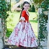 Girls Red Floral historischen 18. Jahrhundert Gräfin Kostüm 6-8 Jahre