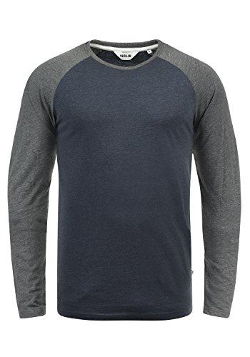 !Solid Bastien Herren Longsleeve Langarmshirt Shirt mit Rundhalskragen, Größe:XL, Farbe:Blue Grey Melange (G8991)