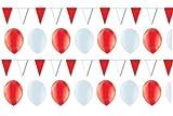 BUDILA® Dekoset rot-weiss 50 Luftballons und 3 Wimpelketten a 10m
