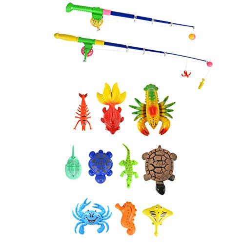 Baoblaze Kinder Angelnspiel mit Enten Fisch Tiermodell & Angelruten, Baby Kinder Angeln Rollenspielzeug - # D - 13 Stücke