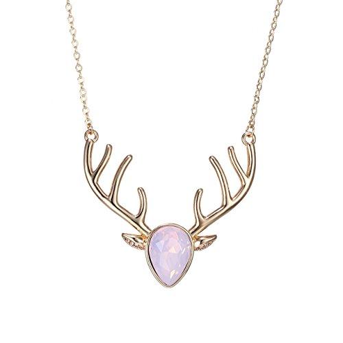 Trachten Gold Halsketten Schmuck (eManco Pink Kristall Anhänger Hirsch Halskette für Frauen Tiere Gold Kette Statement)