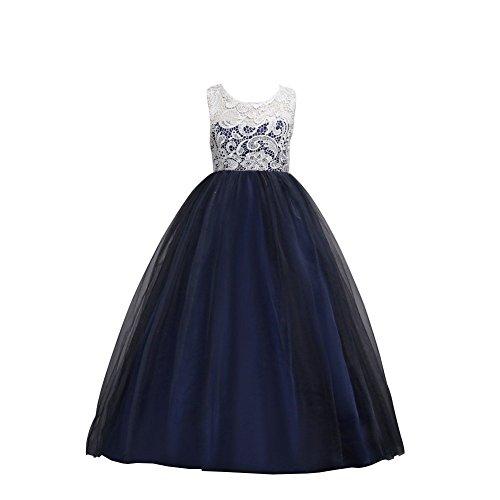 Wulide Kinder Mädchen Prinzessin Kleid Abendkleid mit 'Blumen'-Muster, Schwarzblau,...