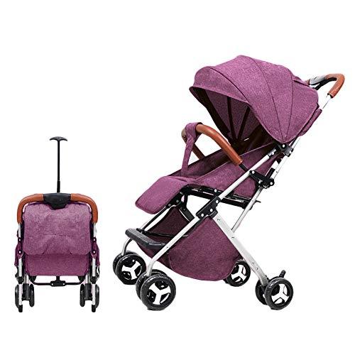 AMENZ Kinderwagen Zwillingskinderwagen Eine Hand benötigt nur EIN Paar Sekunden Leicht Kinderwagen Fünf Punkt Gurt Einstellbar für Park einkaufen Reisen Spazieren Gehen - Lila