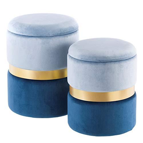 Puffs baúl de Terciopelo Azul Modernos para salón Iris