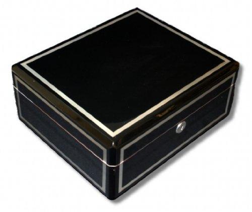 Humipouros Humidor Dickschichtlackierung schwarz-silber V-570