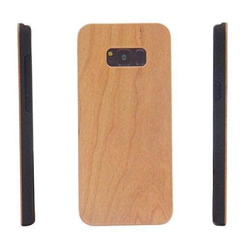 Samsung S8Plus Fall Holz Getreide, Blau Loch 15,7cm Echt Holz Case Bumper mit PC Dual Layer Schützen Schutzhülle für Samsung Galaxy S8Plus, Kirsche -