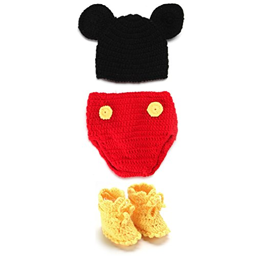EEOZY Neugeborenes Baby Fotografie Foto Prop Crochet Strickhandgemachte Baby (Bilder Maus Kostüm Mickey)