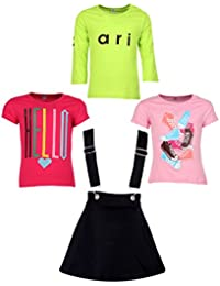Gkidz Girls Pack of 3 Printed Cotton T-shirts with 1 Pack Stretchable Dungree Skirt (JG-GRAPHICCMB5_N_003DNGRE-BLK_Multicolor )