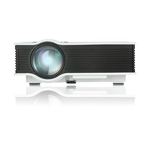 UVISTAR UC40+ Mini Mobiler Projektor LED LCD HD Beamer TV Videoprojektor Unterstützt 1080P AV / IP / IR / USB / SD / HDMI / VGA 800 Lumens für zu Hause Heimkino, Unterwegs, Geschäftskonferenz, Filmen, Spiele, Fotos ( Weiß )