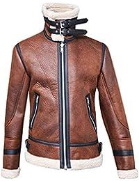 0e975f4170d51 Rera Homme Vestes Cuir PU Bouton à Manches Longues Zippé Grande Taille  Manteau Cardigan Slim Fit