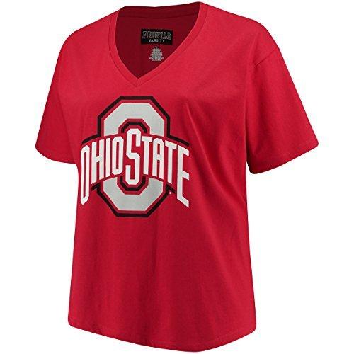 Profile Varsity Ohio State Buckeyes Damen Plus Größe Logo V-Ausschnitt T-Shirt Rot, Damen, Rot, Plus 2X (Ohio State Football-t-shirt)