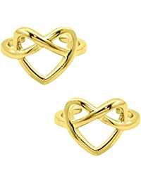Silvernshine Women's 14K Yellow Gold Fn .925 Sterling Silver Heart Knot Adjustable Toe Ring Set