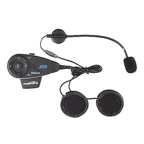 Fodsports Motorcycle Bluetooth 5 Way Full Duplex Interphone Handsfree Multi Intercom Sports Helmet Headset FM Radio 1200m,Clothes Clamp Standard 3.5