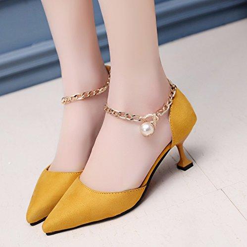 XY&GKSandales femmes chaussures d'été a fait High-Heeled, Baotou Mid Air et chaussures pour femmes,avec le meilleur service 38yellow