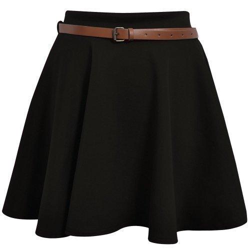 Minigonna con cintura vita, elasticizzata, tinta unita, svasata, taglia 36 38 40 42 Black S/M